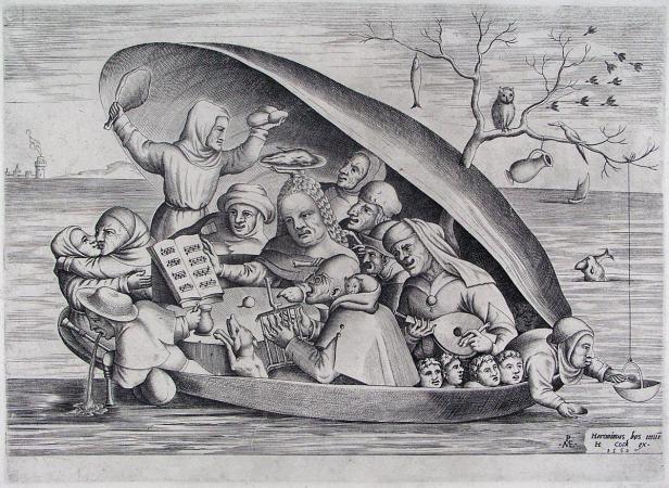 pretmakers in een mossel op zee