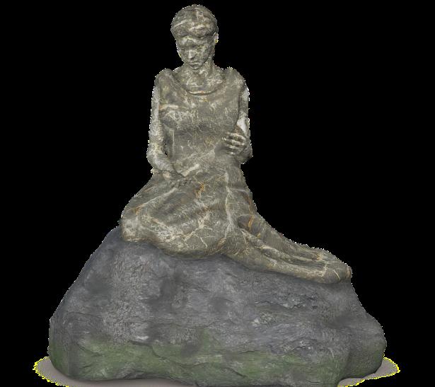 vrouw op steen